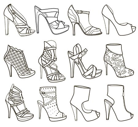 Collection of fashion women's shoes (vector illustration) Ilustração