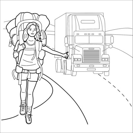 Beautiful young girl is traveling. Vector illustration.