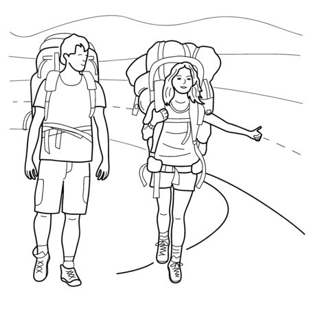 Young girl and boyfriend is traveling. Vector illustration.