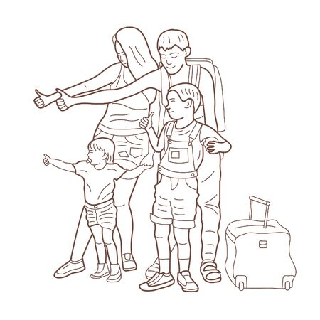 Happy family with children hitchhiking. Vector illustration. Coloring book.