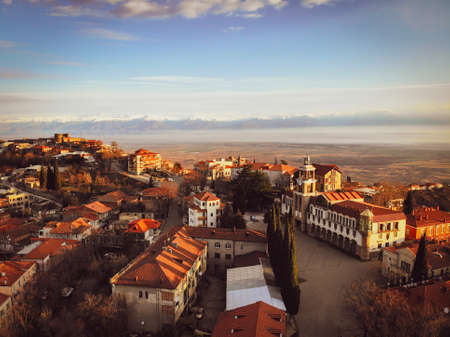 Sighnaghi national museum building with stunning valley background panorama.Tourist attraction in Kakheti