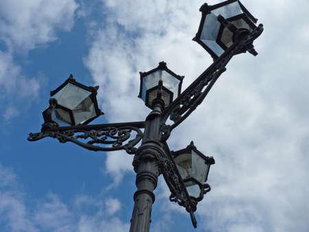 Old street lantern, candelabra from below
