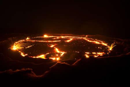 uitbarsting van de vulkaan Erta Ale, Ethiopië Stockfoto
