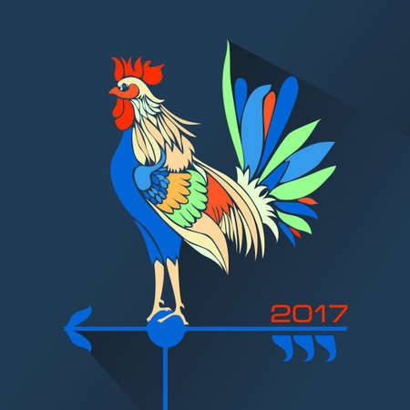 weathercock: Christmas rooster weather vane in the form of a symbol of 2017 on a dark blue background with shadow. Vector illustration
