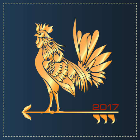 Vector illustration for 2017 year with rooster - chinese symbol of new year. Golden Cockerel
