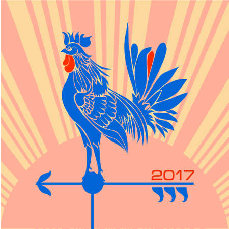 rooster weather vane: Stylized rooster symbol of 2017 as a weather vane on a sunrise background. Vector illustration