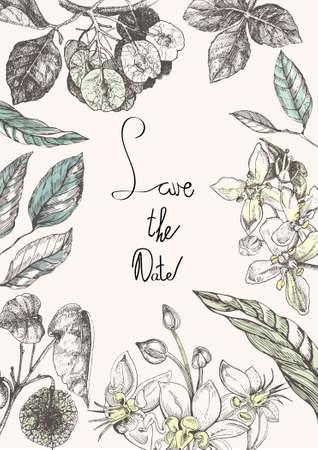 Blumenvektormuster. Die alte Einladung mit verschiedenen Blumen und Blättern. Botanische Illustration. Auf dem Bild eine Pflanze Ptelea trifoliata und Kakao, ein Schokoladenbaum.