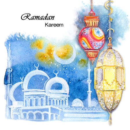 great: Ramadan Kareem. The mosque at night against the background of the moon. Festive Arab small lamps. Watercolor illustration.