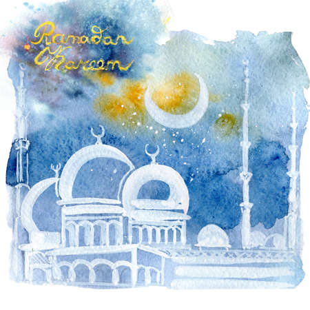 Ramadan Kareem. The white mosque at night against the background of the moon. Festive Arab small lamps. Watercolor illustration.