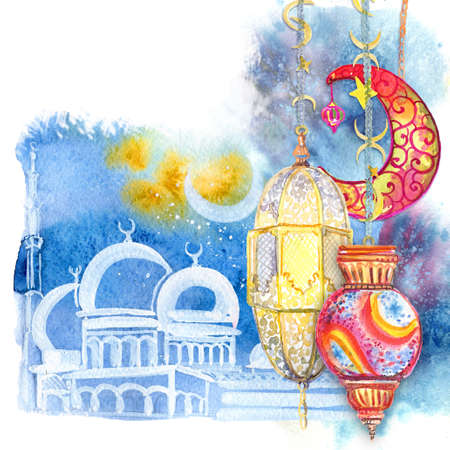 great: Ramadan Kareem. The white mosque at night against the background of the moon. Festive Arab small lamps. Watercolor illustration.