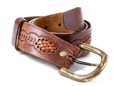 brown leather old belt on white background