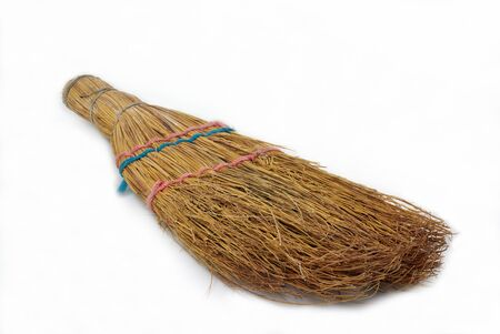 natural broom on white background