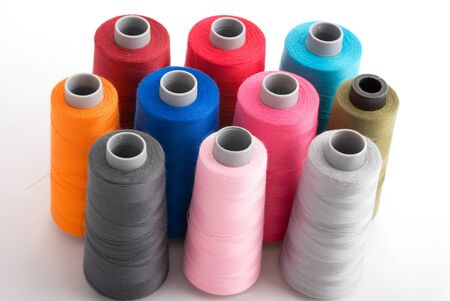 close-up of multy color bobin threads Stock Photo
