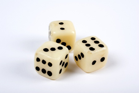 three dice on white background