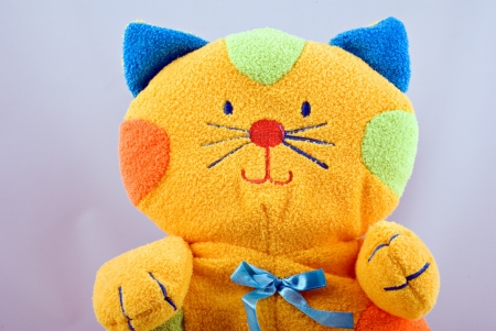 colorful fluffy soft baby toy cat
