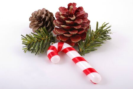 christmas decoration with pine cone   candy