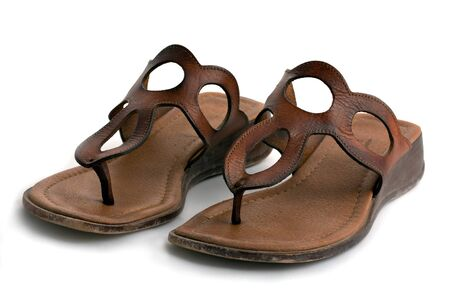 brown leather women sandals on white background