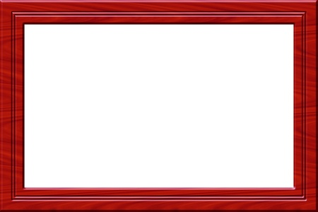 red wooden frame for paintings or pictures isolated on white Stock Photo