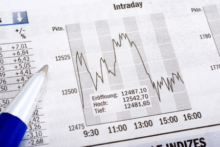 financial analysis with graph on economical newspaper