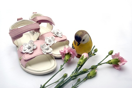 pink leather pair of kid summer leather sandals next few carnation flowers and a decorative colorfull ceramic bird