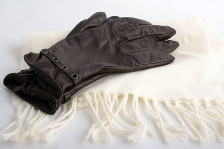 women leather gloves and white shawl Stock Photo
