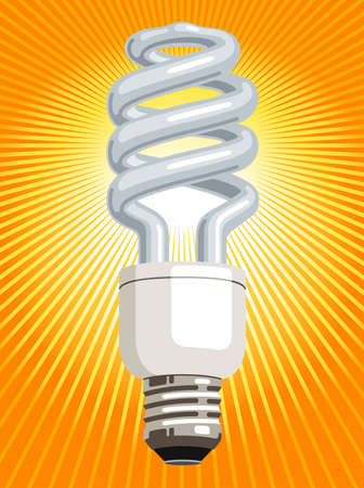 Vector illustration of a CFL (compact fluorescent lamp), with radiating light beams.