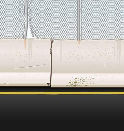 mediaan: Vector illustratie van Jersey belemmeringen met ketting link hek op een snelweg mediaan.