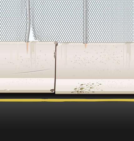 Vector illustration of Jersey barriers with chain link fence on a highway median.