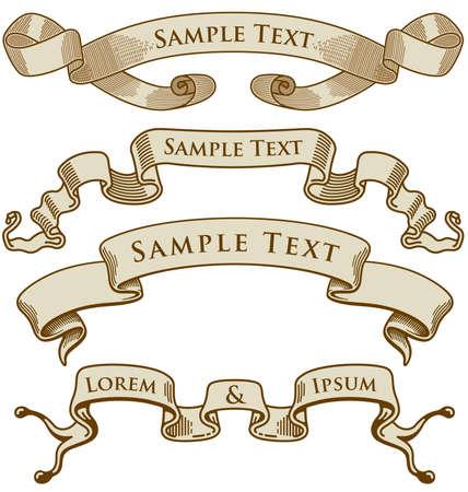 Une variété d'illustrations vectorielles de millésime titre bannières. Banque d'images - 4033774
