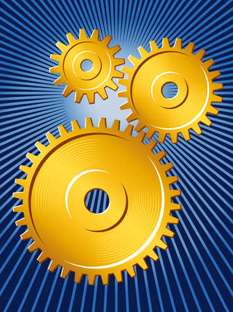Vector illustration of three meshed gears, golden on deep blue field.