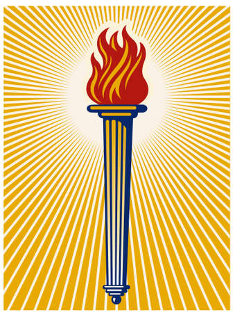 Vector illustration of a flaming torch with radiating light beams.