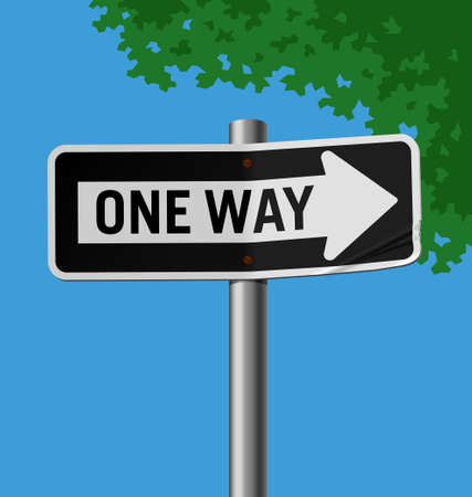 Vector illustration of a street sign � One Way