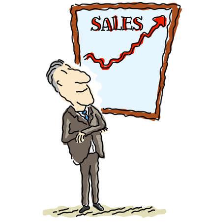 sales executive: Ilustraci�n vectorial de un feliz hombre de negocios las ventas de visualizaci�n, que van fuera de la tabla.