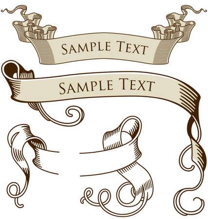 Una variedad de ilustraciones de vectores de la vendimia titular pancartas. Foto de archivo - 4066914