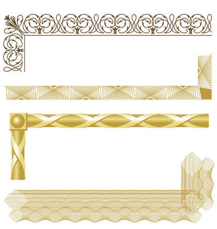 Vector illustration of various intricate borders for certificates, awards, coupons, etc. Borders are built in segments that can be easily repeated for resizing.