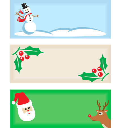 Set of three Christmas tags. Vector art is layered and grouped for simple rearrangement of elements. Ilustração