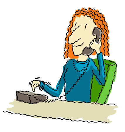 dialing: Vector illustration of a happy business woman at her desk, dialing the telephone. Illustration