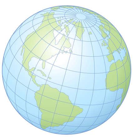 緯度と経度を示す世界の簡単なベクトル イラスト。