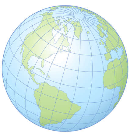 위도: Simple vector illustration of the globe showing latitude and longitude.