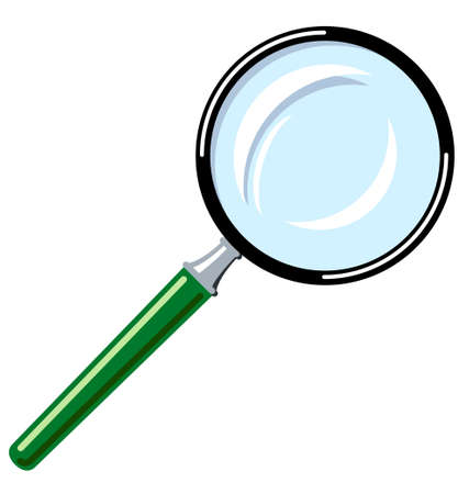 Vector illustration of a magnifying glass with green handle. Ilustração