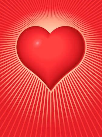 Vector illustration of a Valentine Heart on a background of radiating light beams. Ilustração