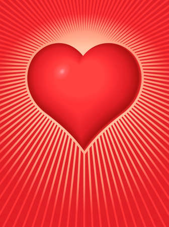 Vector illustration of a Valentine Heart on a background of radiating light beams. Illustration