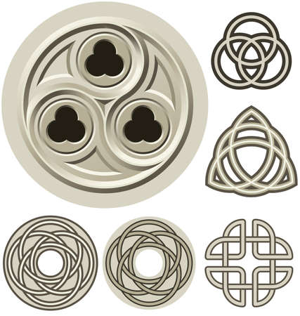 Cathedral detail with trefoils, and various Celtic Knot patterns. Vector and jpeg available.