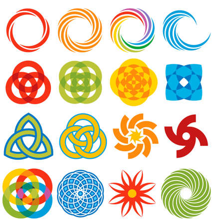 A series of geometric graphic elements, all based on rings and arcs.