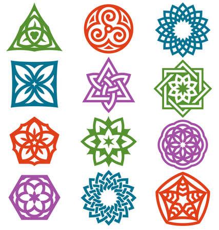 Una serie de elementos gráficos sobre la base de motivos geométricos.
