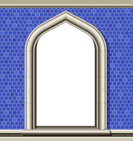 Illustration of an ancient arched window in a wall of blue tiles, suitable as a frame or border. Illustration