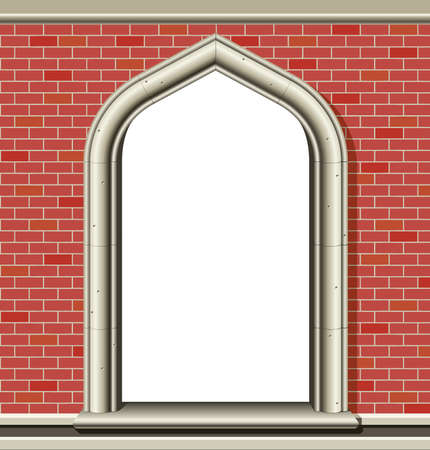 Illustration of an ancient arched window in a brick wall, suitable as a frame or border.