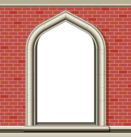 window open: Ilustraci�n de una antigua ventana arqueada en una pared de ladrillos, adecuada como un marco o la frontera. Vectores