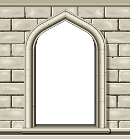 Illustration of an ancient arched window in a cut stone wall, suitable as a frame or border. Illustration