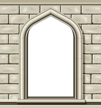 ventanas abiertas: Ilustraci�n de una antigua ventana arqueada en un muro de piedra de corte, adecuada como un marco o borde.